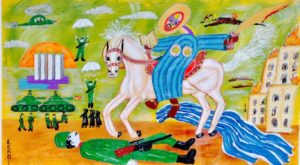"St. George, 1999, Oil and Acrylic on Paper, 24"" x 36"""