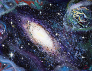 10.The voyage of Space , Mixed medium on canvas , 46''x36'', 2012, $6000-10000