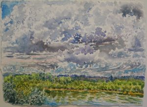 """Clouds in August, 2016, watercolor on paper, 14"""" x 19.5"""""""