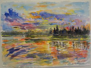 "Sunset at Emma Lake, 2016, watercolor paper, 14.5"" x 19.75"""