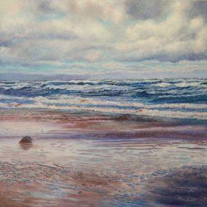 "Wild Waves of North Atlantic, 2015, acrylic on canvas, 48"" x 48"""