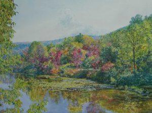 "Autumn Reflections, 2017, acrylic on canvas, 30"" x 40"""