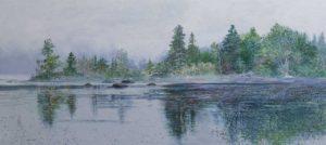 "Trees, Mist and Rocks, 2016, acrylic on canvas, 26"" x 58"""