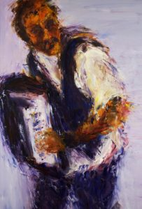 Accordion Player I, oil on canvas, 3' x 4'